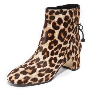Tory Burch leopard print leather booties
